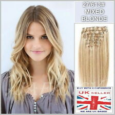 "Deluxe 15"" Full Head Clip in Remy Human Hair Extensions 27/613# Mixed Blonde"