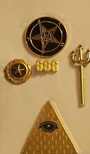 Secret Occult Society Satanic Baphomet Illuminati Member Pin ID Card Officer Set