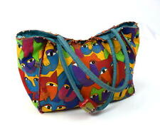 LAUREL BURCH Rainbow Cat Print Canvas Hobo Shoulder Hand Bag Tote Purse Satchel