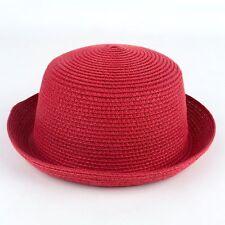 Women Kid Children Girl Bowler Derby Hat Bucket Cloche Cap Plain Straw Two Sizes