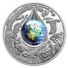 2016 CANADA  MOTHER EARTH  99.99% PURE SILVER 3D WATER DROPLET COIN