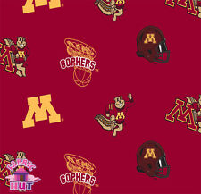 140226229- University of Minnesota Golden Gophers Fleece Fabric NCAA By the Yard