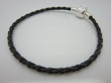4pcs Braided Leather Charm Bracelets for European Beads Weave Wristband 18mm