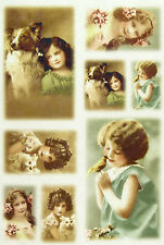 Ricepaper / Decoupage paper, Scrapbooking Sheet Old Pictures Girls and Animals
