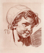 "CUTE 1800s Jean-Baptiste GREUZE Antique Print ""Sweet Baby Girl"" FRAMED FREE COA"