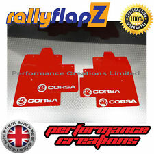 Rally Mudflaps to fit VAUXHALL CORSA C (00-07) Mud Flaps Red Logo Silver 3mm PVC