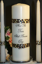 Lepard Print Two Become One Valentines Day White Wedding Unity Candle Tapers
