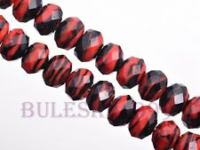 New 10pcs 12mm Stripe Design Glass Charms Rondelle Faceted Lampwork Loose Beads