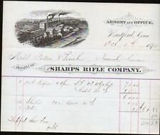 1875 Hartford Ct - Sharps Rifle Co - Armory  Gun Rifles SUPERB Letter Head RARE