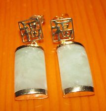 BEAUTIFUL SECONDHAND 9ct GOLD JADE  DROP EARRINGS FOR PIERCED YEARS