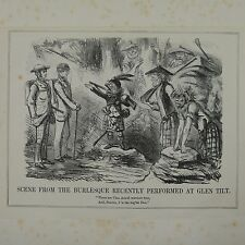 "7x10"" punch cartoon 1850 SCENE FROM THE BURLEQUE AT GLEN TILT"