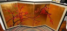 HUGE CHINESE CHERRY BLOSSOM WATERCOLOR GOLD LEAF 4 PANEL SCREEN PAINTING