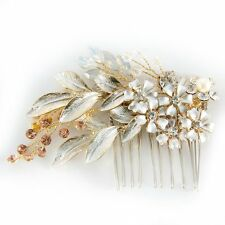 Posh Vintage Bridal Hair Comb Rhinestone Leaf Hair Accessories Wedding Headpiece