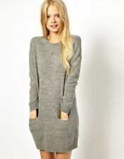 Jack Wills Knitted Sweater Dress Lambswool and Merino Wool Long Sleeve Gray 2