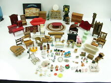 Huge Lot of Vintage Miniature Dollhouse Furniture Rugs Toys Fireplace Piano Lamp