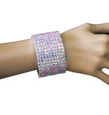 "1.5/8"" W Aurora Borealis Crystal Cuff Bangle Evening Bracelet,Pageant,Drag Queen"