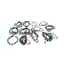 Job Lot of 50PCS Leather/String Surfer Bracelet with Charms Beads Mixed Colours