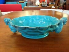 Hollywood Regency Art Deco Cantagalli Italy Turquoise Blue Horse Handle Compote
