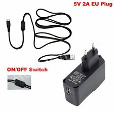 EU Power Supply adapter Charger ON/OFF switch Cable 5V 2A For Raspberry Pi B+/B