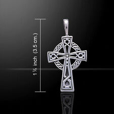 Celtic Knotwork Cross .925 Sterling Silver Pendant by Peter Stone