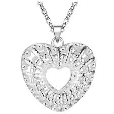 New Fashion Jewelry 925 Silver fine gift cordate hollow necklace Female Pendant