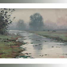 FARM OIL PAINTING PASTORAL LANDSCAPE with COWS TRADITIONAL ART By G. Gercken