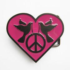 BRAND NEW HEART BIRD PEACE SIGN WOMEN 60 BELT BUCKLE