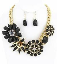 VICTORIAN STYLE BLACK LUCITE BEAD FLOWER GOLD TONE LINK CHUNKY NECKLACE EARRING