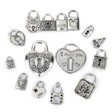 15pcs Antique Tibetan Silver LOCK Pendant Charms DIY Jewelry Bracelet Making