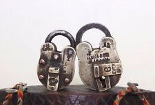 1920's Lot of TWO Antique 8 Lever and Rana Marked ALIGARH Brass Pad lock#077