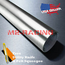 "*36""x48"" Chrome Silver Brushed Aluminum Wrap Decal Wallpaper Sticker Film 8084H"