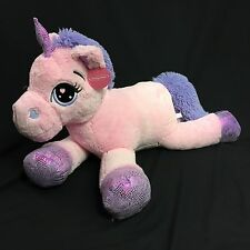 "GIGANTIC Pink Unicorn 40"" Doll Plush Stuffed Animal NWT Big Soft Sparkly Hearts"