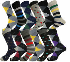 12 PK MEN SOCKS COTTON POLKA DOTS STRIPES DRESS SOCKS FASHION SIZE 10-13