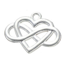 10pc Silver Plated Charms Heart Infinity Friendship Pendant Beads Findings /P811