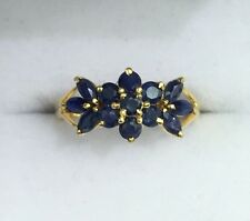 14k Solid Yellow Gold Flower Cluster Band Ring Natural  Sapphire 1.3TCW, Sz 8.25
