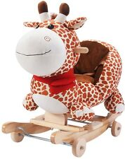 Rocking Horse For Toddlers Baby Wooden Plush Cute Giraffe Ride On Cushion Seat