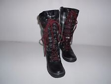 Women's Pajar Winter Boots Blk Leather & Plaid Fabric Pile Lining US 7-7.5 EU 38