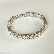 "GB101 Sim diamond silver tennis bracelet (white gold gf) 6.25""/17cm x 8mm BOXED"
