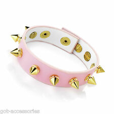 Gorgeous pale pink & gold tone spike faux leather studded bracelet