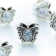 5Pcs Silver Floating Spacer Butterfly Charm Beads Fit European Bracelet