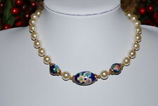 VINTAGE STRAND NECKLACE FAUX GLASS PEARLS AND BLUE CLOISONNE CENTERPIECES  NICE