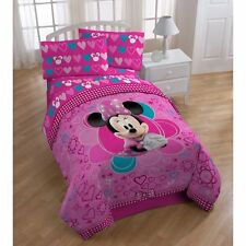 Minnie Mouse 4 Piece Full Bed Sheet Set Bedroom Girls Pink Hearts Kids Child