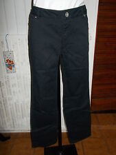Pantalon coton noir stretch BENETTON 42D 44FR 16UK coupe droite 16TS24