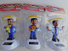 Mexican Mariachi Band Solar Powered Dashboard Bobble Men Musicians set of 3 Blue