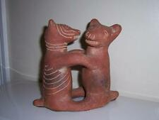 PRE COLUMBIAN STYLE TERRA COTTA CARVED FIGURAL ANIMAL VASE