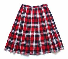 Vintage 80's Pleated Tartan Check Skirt Retro Boho 12