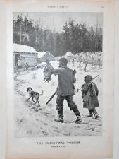 Harper's Weekly Page Drawing The Christmas Possum Black Americana AB Frost 1900