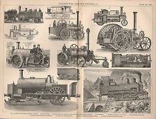 1874 PRINT ~ LOCOMOTIVES TRACTION-ENGINES ~ STREET CARRIAGE