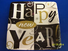 """Block Party Happy New Year's Eve Holiday Cocktail Party 7"""" Square Dessert Plates"""