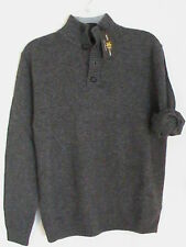 NWT GLEN LYON 100% cashmere men S charcoal gray casual 4-button sweater pullover